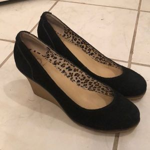Kelsi Dagger wedge suede black heels